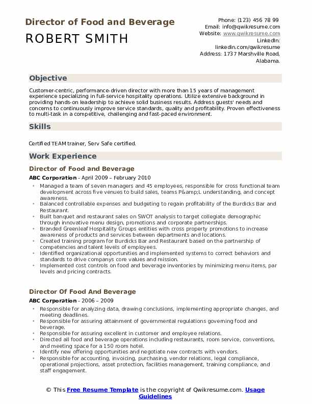 director of food and beverage resume samples qwikresume format for service pdf students Resume Resume Format For Food And Beverage Service
