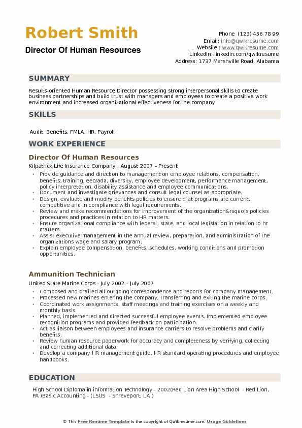 director of human resources resume samples qwikresume template pdf brief summary examples Resume Human Resources Resume Template