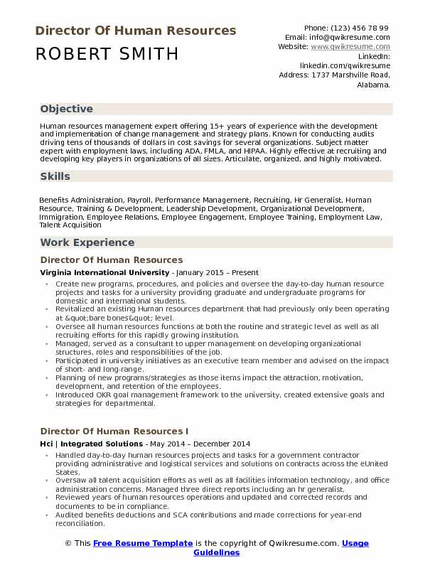 director of human resources resume samples qwikresume template pdf entry level architect Resume Human Resources Resume Template