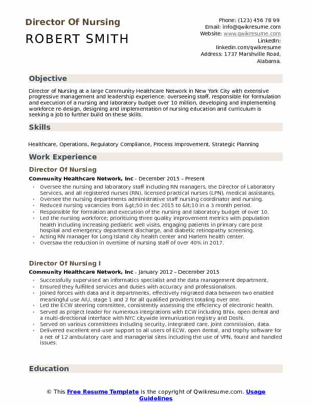 director of nursing resume samples qwikresume neutral objective pdf free federal mit Resume Neutral Resume Objective