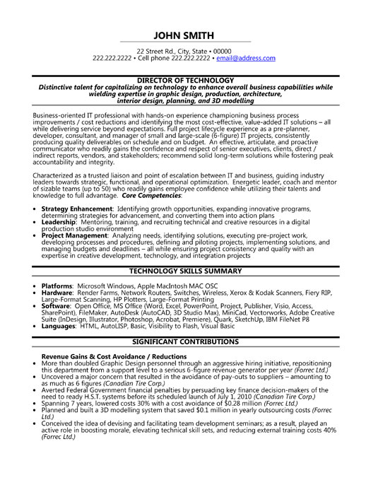 director technology resume sample template vice president ex executive clinical lab Resume Vice President Technology Resume