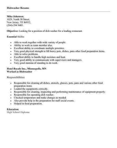 dishwasher job resume example latest format skills cyber security writer another name for Resume Dishwasher Resume Skills