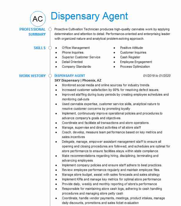 dispensary agent resume example bloom chandler manager entry level auditor objective Resume Dispensary Manager Resume