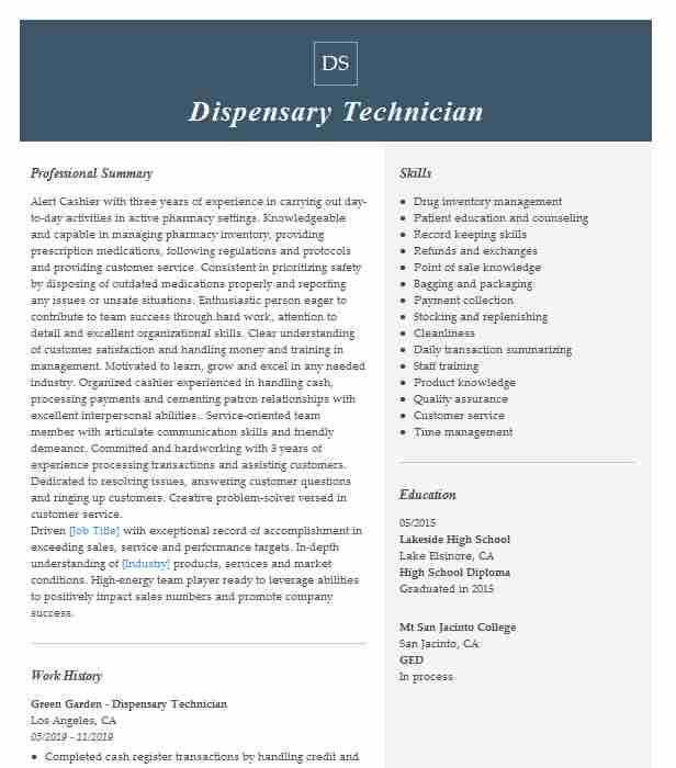 dispensary manager resume example the depot microsoft azure administrator sample skill Resume Dispensary Manager Resume
