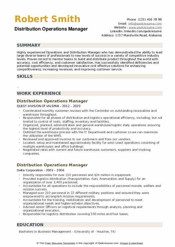 distribution operations manager resume samples qwikresume sample pdf associate project Resume Distribution Operations Manager Resume Sample