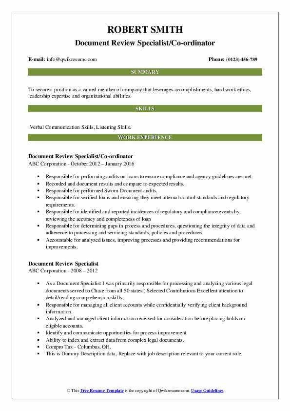 document review specialist resume samples qwikresume describing on pdf telephone Resume Describing Document Review On Resume