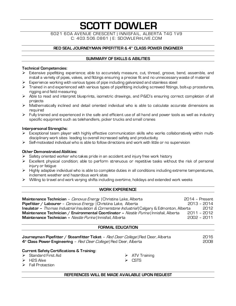 dowler pipefitter resume template thumbnail moderno technical support samples help for Resume Pipefitter Resume Template