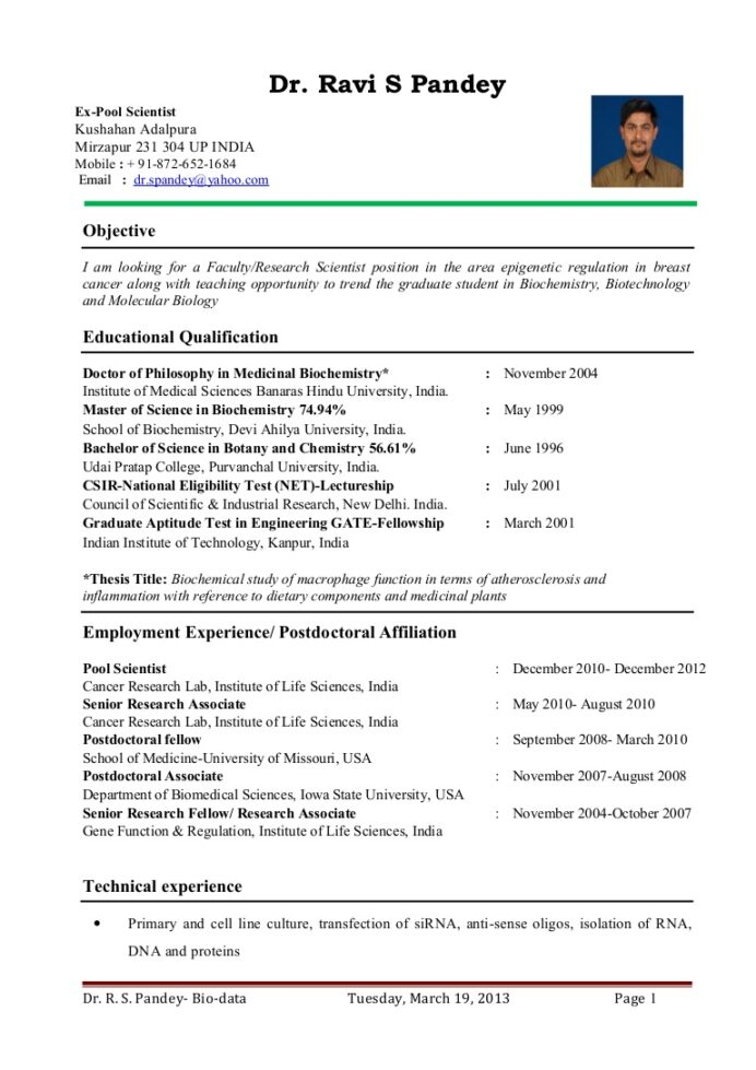 dr ravi pandey resume for assistant professor research scientist biochemistry student Resume Biochemistry Student Resume