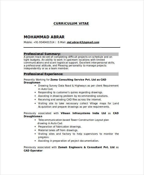 draftsman resume templates free word pdf document downloads drafter example electrician Resume Cad Drafter Resume Example