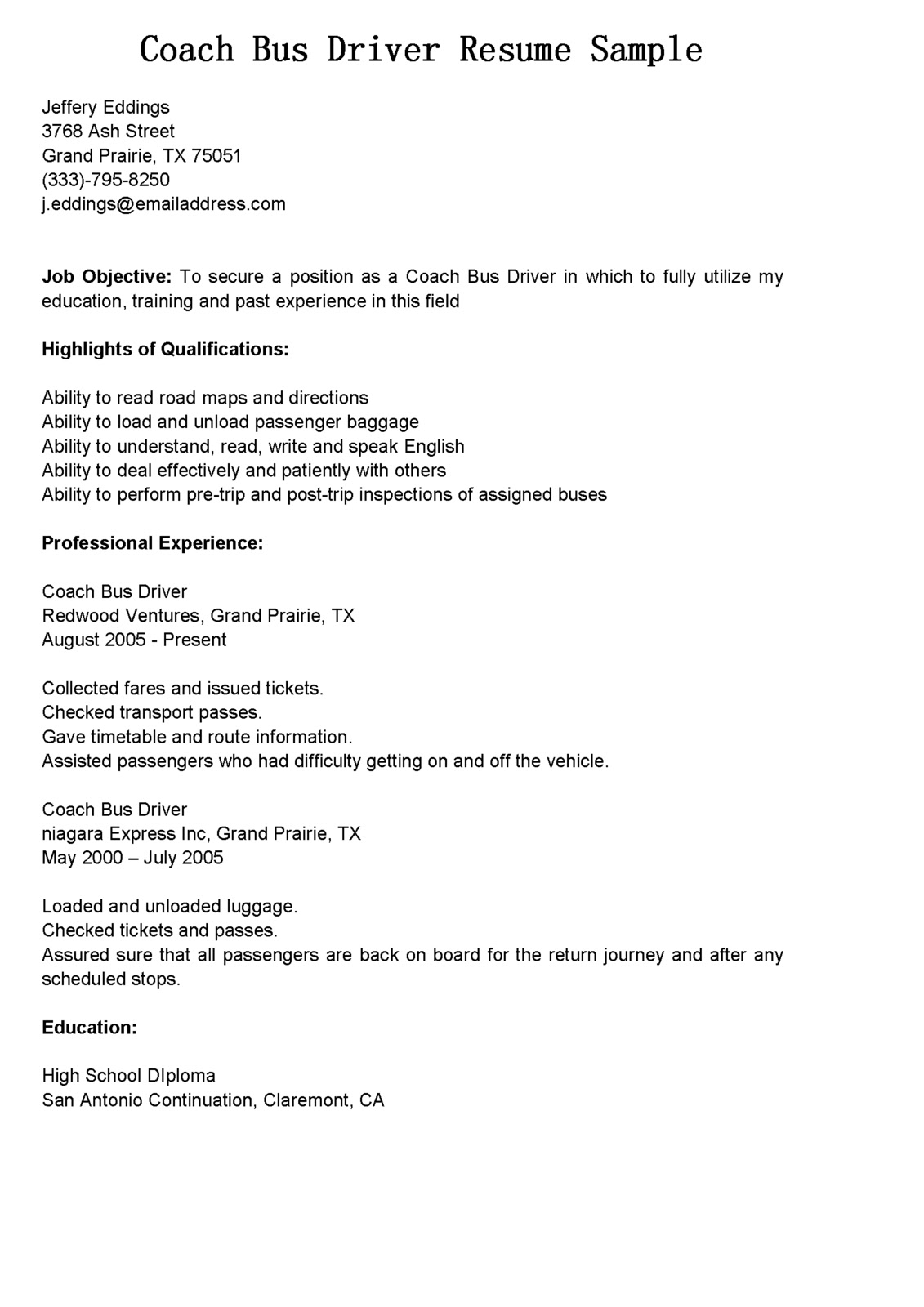 driver resumes coach bus resume sample for position librarian chemistry professor Resume Resume For Bus Driver Position