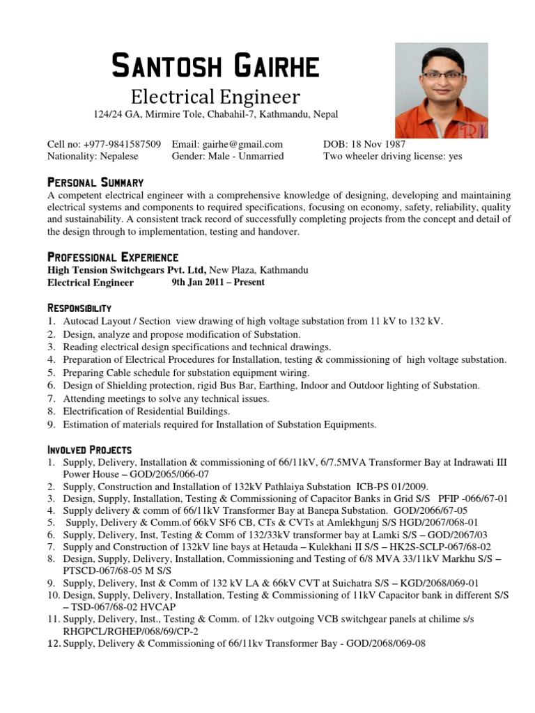 electrical engineer cv sample substation high voltage resume music composer senior devops Resume Substation Electrical Engineer Resume