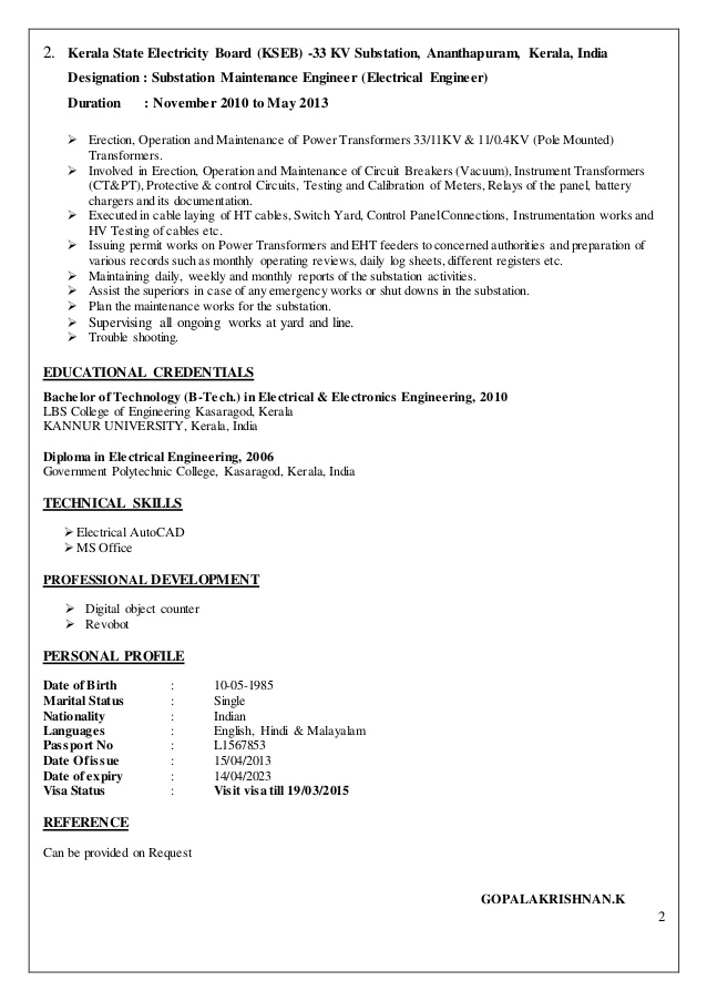electrical engineer cv substation resume strong summary for pediatric nurse cover letter Resume Substation Electrical Engineer Resume