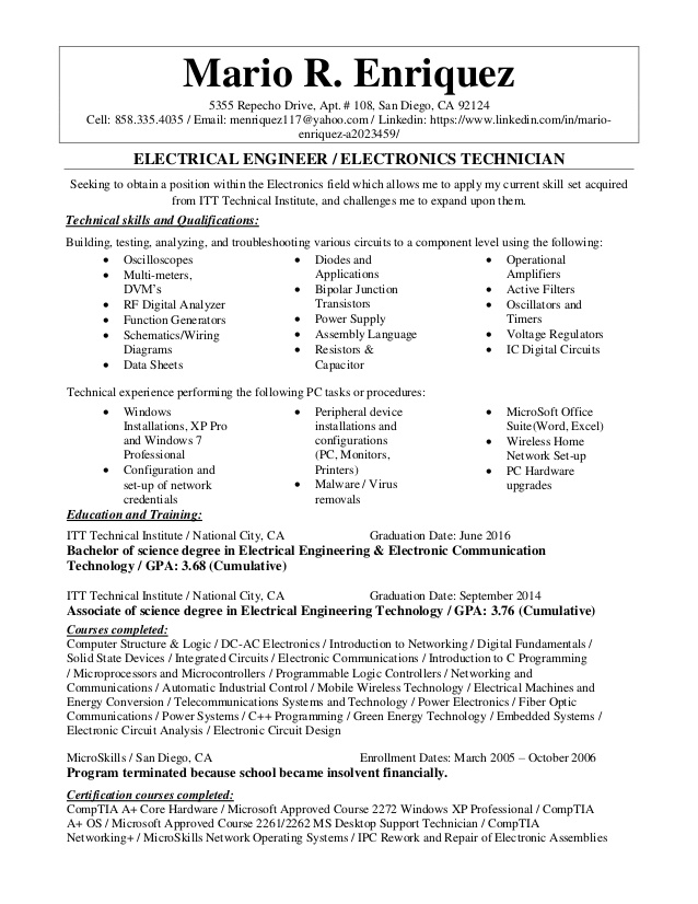 electrical engineer electronics technician resume electronic tips data migration business Resume Electronic Technician Resume