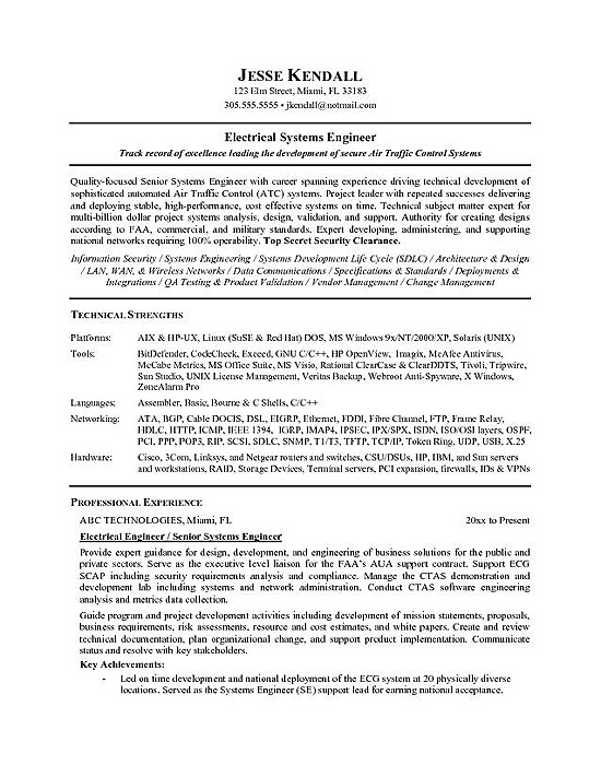 electrical engineer resume example senior systems customer relations officer intel study Resume Senior Systems Engineer Resume