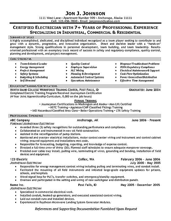 electrician resume example foreman supervisor construction sample responsibilities on Resume Construction Electrician Resume