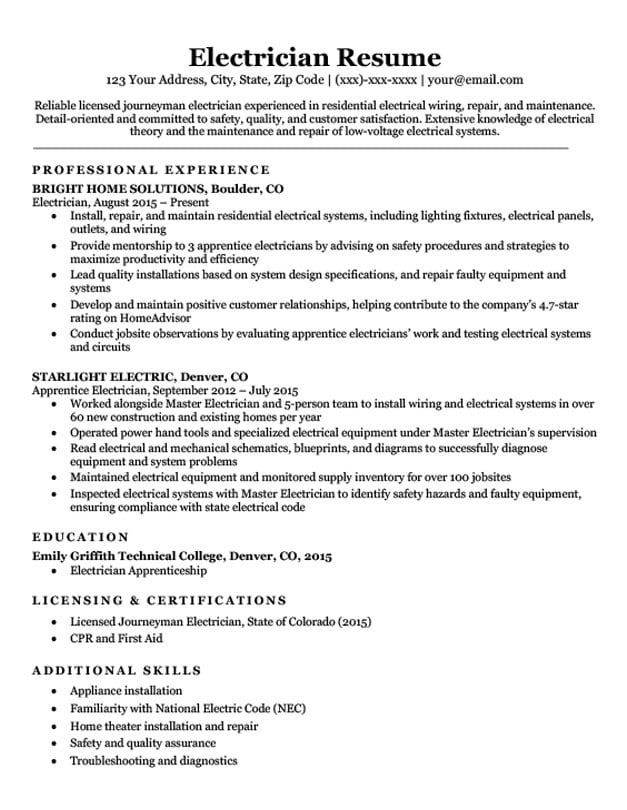 electrician resume sample mt home arts construction objective for entry level clerical Resume Construction Electrician Resume