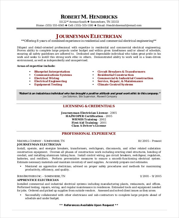 electrician resume template free word excel pdf documents premium templates construction Resume Construction Electrician Resume