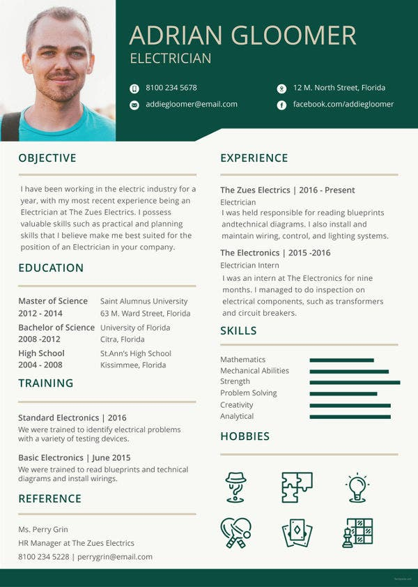electrician resume template free word excel pdf documents premium templates format Resume Electrician Resume Word Format