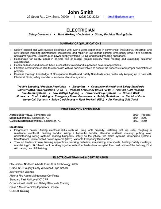 electrician resume template premium samples example examples sample format job word all Resume Electrician Resume Word Format
