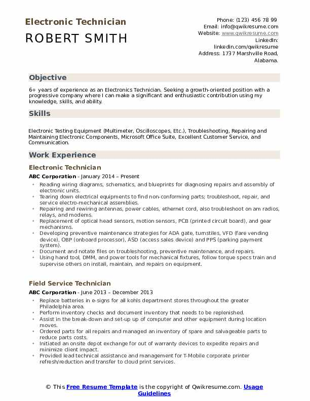 electronic technician resume samples qwikresume pdf correctional officer job description Resume Electronic Technician Resume