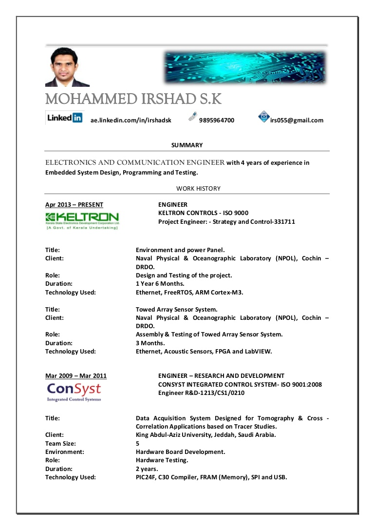 electronics engineer resume samples for and communication engineers Resume Resume Samples For Electronics And Communication Engineers