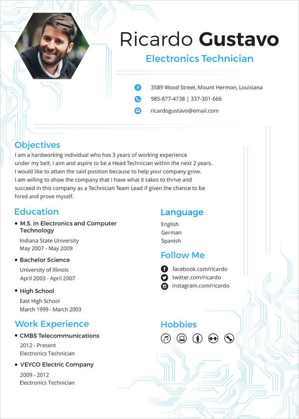 electronics resume template free word pdf document downloads premium templates samples Resume Resume Samples For Electronics And Communication Engineers