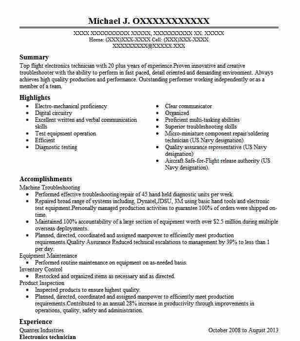 electronics technician resume example resumes misc livecareer electronic airbnb viral Resume Electronic Technician Resume