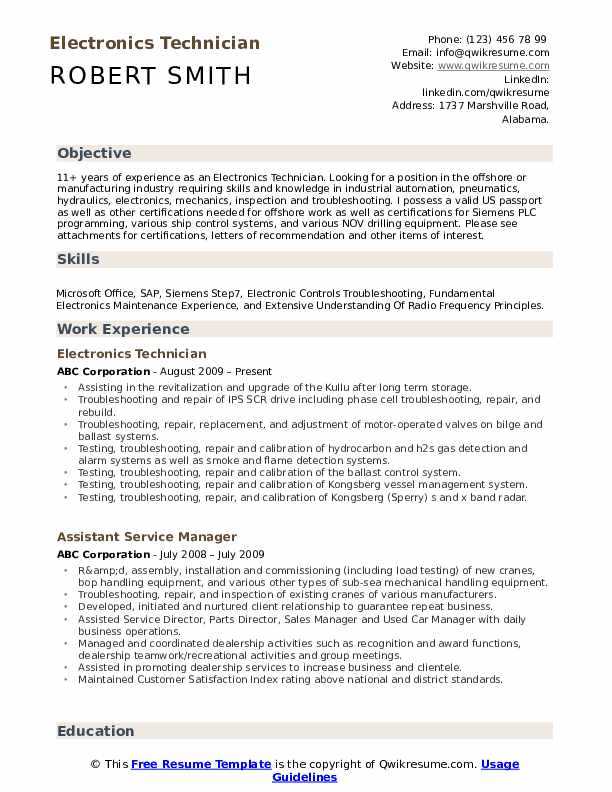 electronics technician resume samples qwikresume electronic pdf travel agent customer Resume Electronic Technician Resume