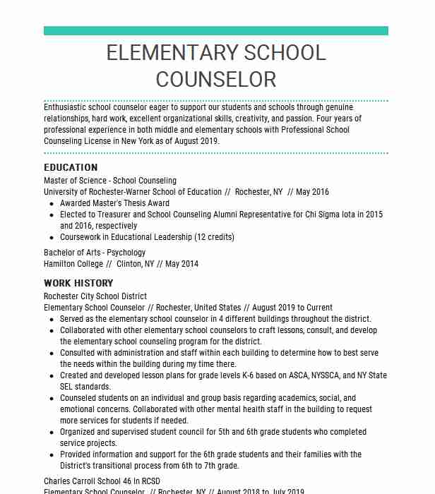 elementary school counselor resume example moss americus examples objective line for lpn Resume School Counselor Resume Examples