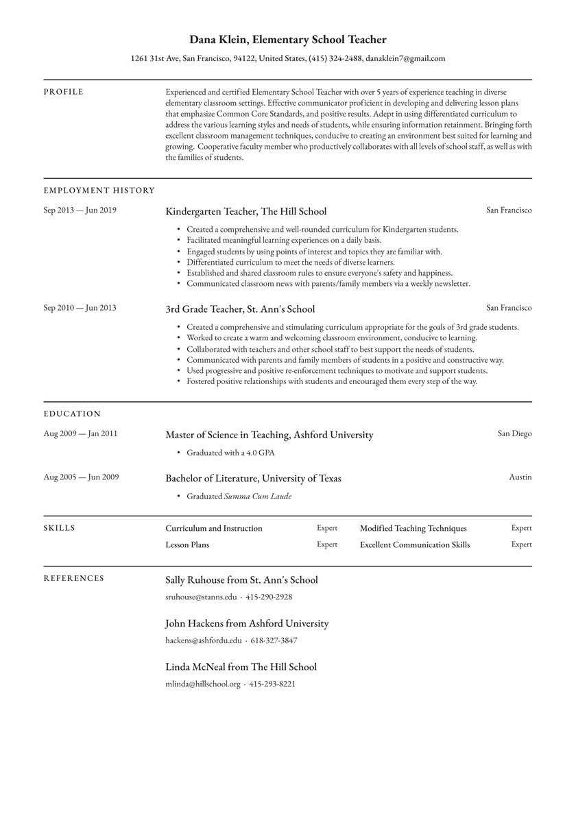 elementary school teacher resume examples writing tips free guide io template sample for Resume Elementary School Teacher Resume Template
