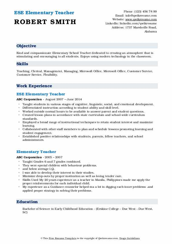 elementary teacher resume samples qwikresume pdf papa johns place tower climber example Resume Elementary Teacher Resume