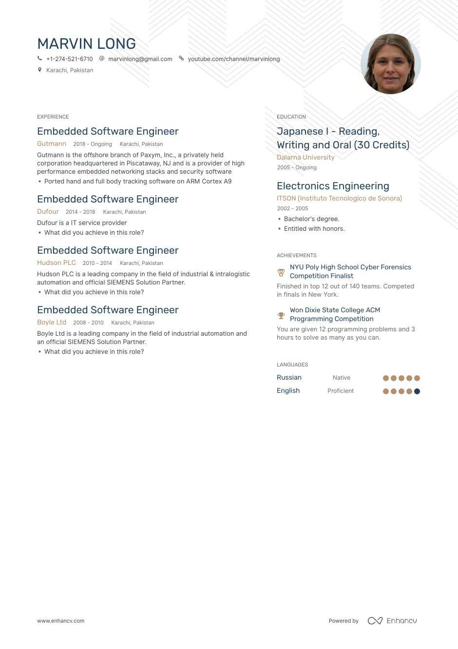 embedded software engineer resume example for enhancv systems creative examples sample Resume Embedded Systems Resume
