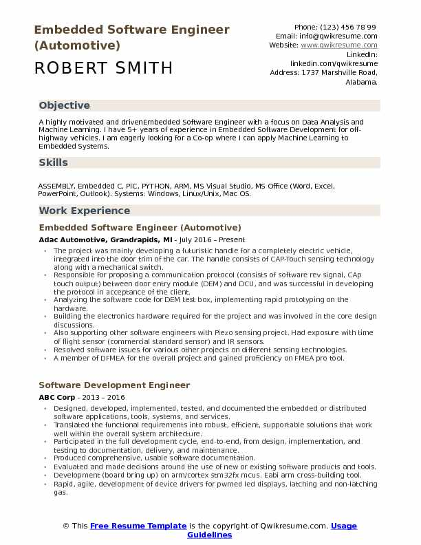 embedded software engineer resume samples qwikresume automobile format for freshers pdf Resume Automobile Resume Format For Freshers