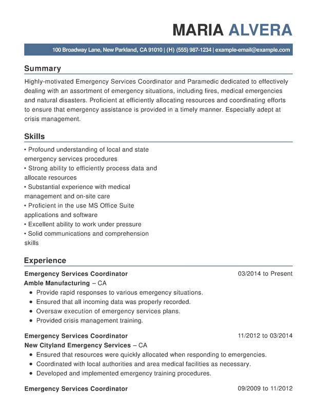 emergency services functional resume samples examples format templates help management Resume Emergency Management Coordinator Resume