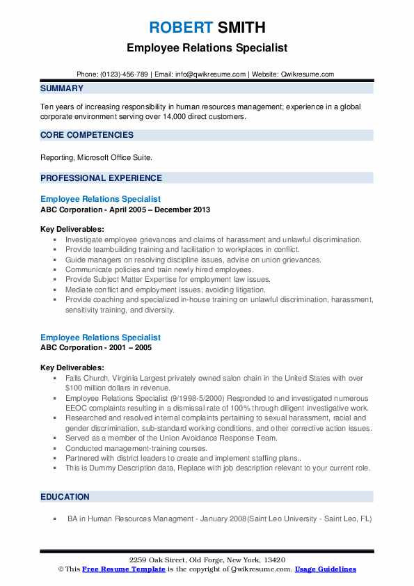 employee relations specialist resume samples qwikresume pdf cna job undergraduate Resume Employee Relations Resume