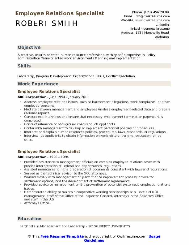 employee relations specialist resume samples qwikresume pdf volunteer section of sample Resume Employee Relations Resume
