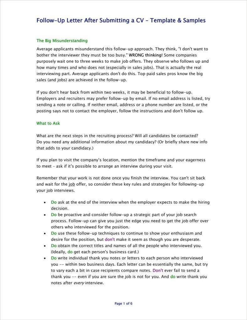 employment follow up letter templates pdf free premium after resume sent submitting Resume Follow Up After Resume Sent