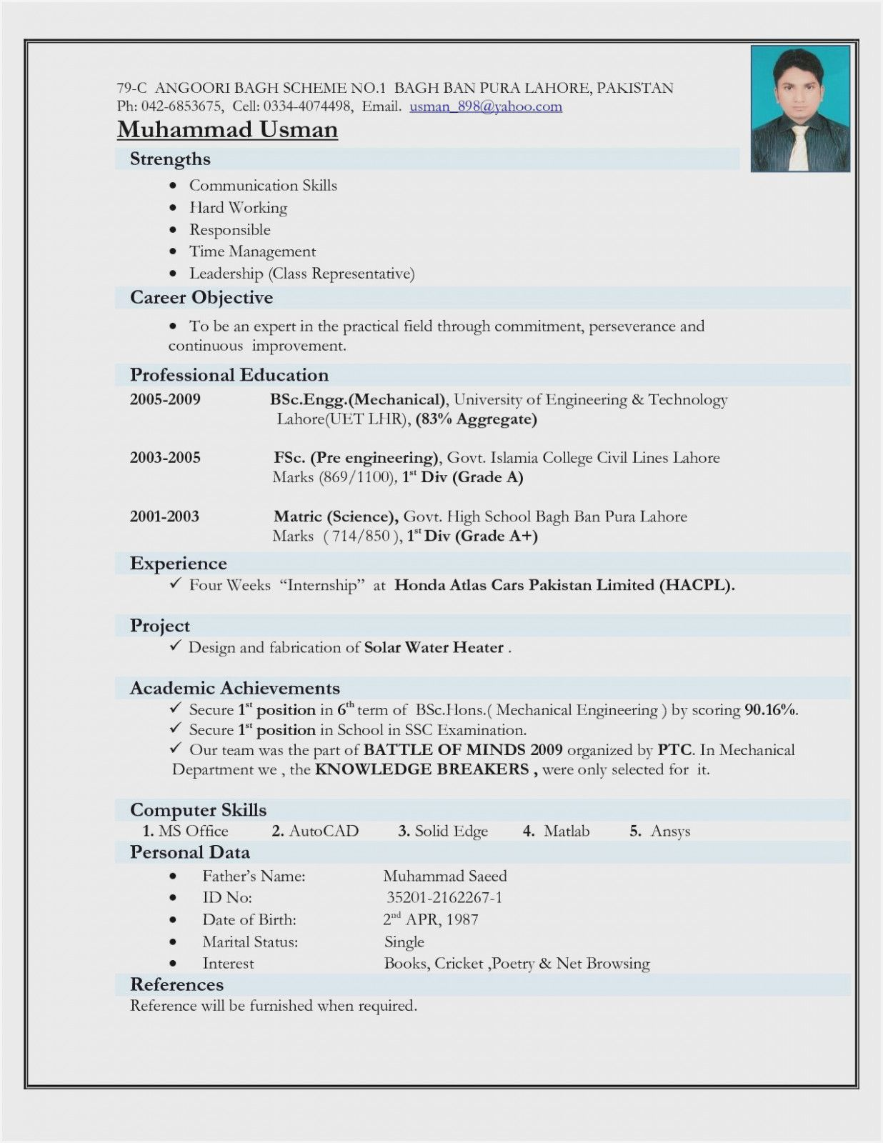 engineer resume template mechanical engineering format for freshers latest photo stylist Resume Latest Resume Format 2020 For Freshers