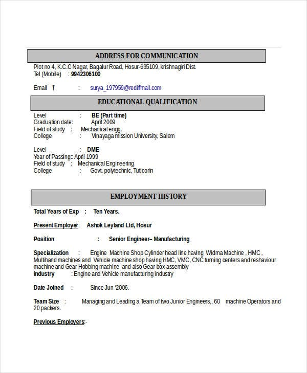 engineering resume template free word documents premium templates automobile format for Resume Automobile Resume Format For Freshers