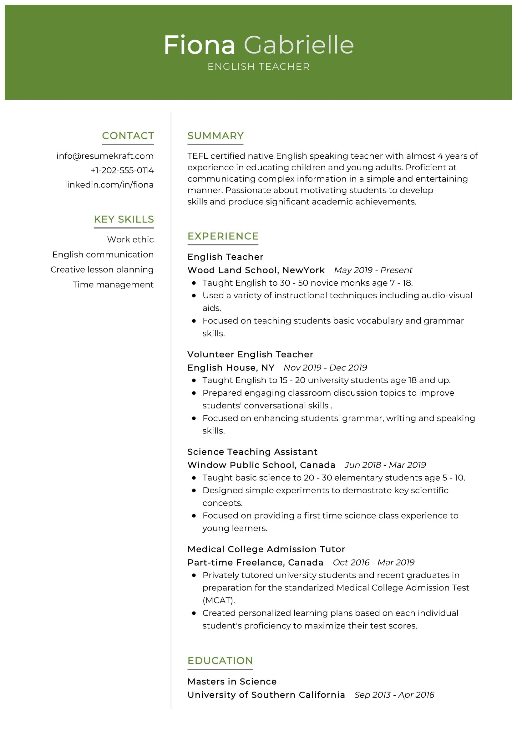 english teacher resume sample resumekraft skills for science managing interns on college Resume Skills For Science Teacher Resume