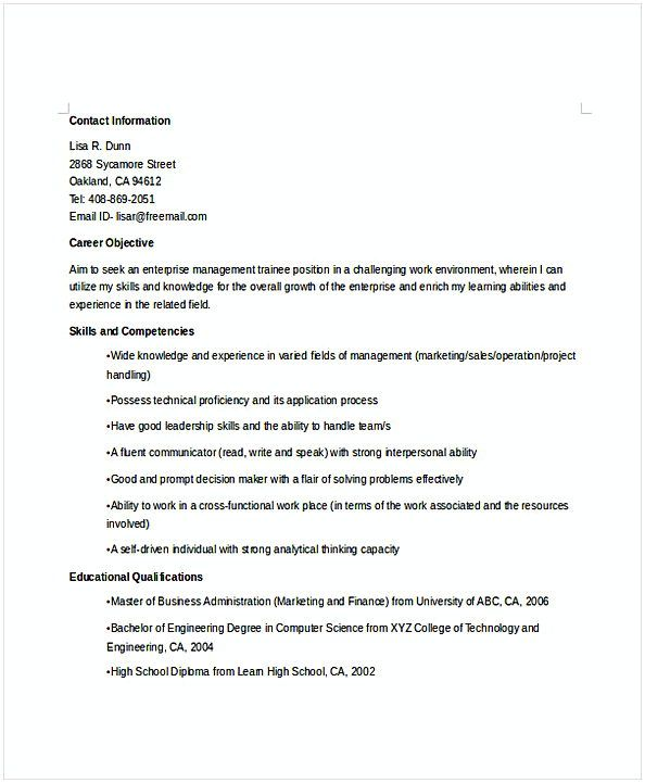 enterprise manager trainee resume for position many of us interested in being content Resume Enterprise Management Trainee Resume Example