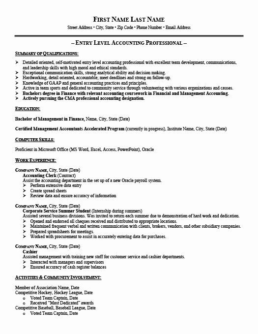 entry level accounting resume fresh accountant template premium samples job examples for Resume Resume Template For Entry Level Position