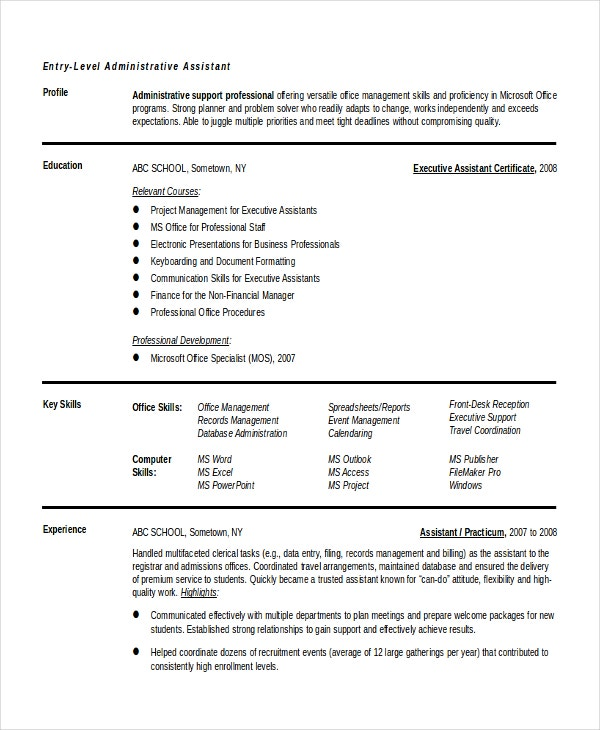 entry level administrative assistant resume templates free sample example format premium Resume Admin Assistant Objective Resume Sample