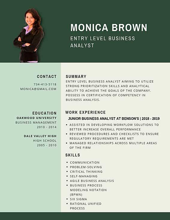 entry level business analyst resume samples templates pdf word junior resumes bot example Resume Business Resume Example