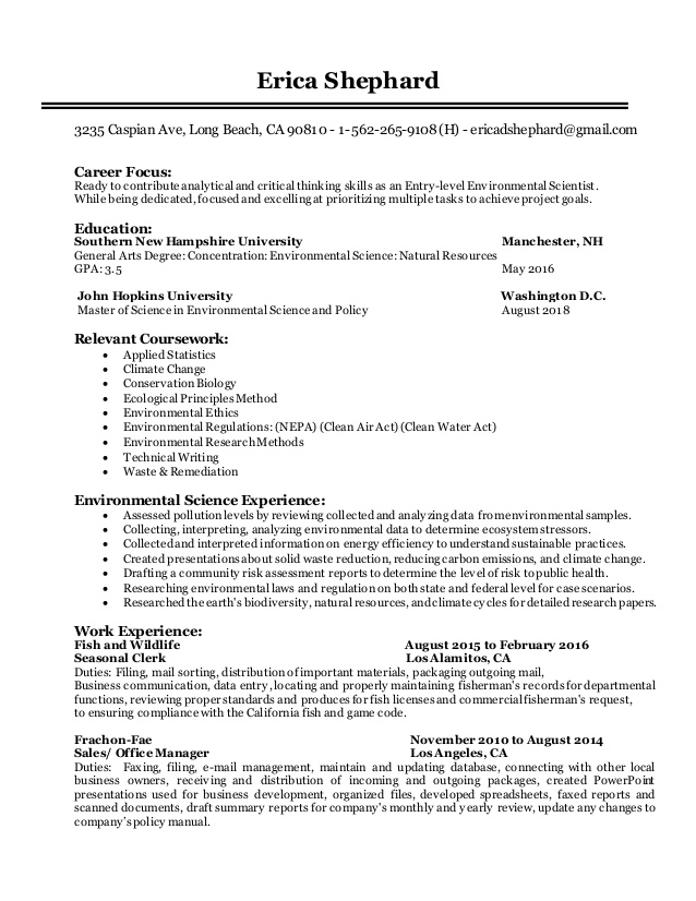 entry level environmental scientist resume consultant entrylevel for older workers Resume Environmental Consultant Resume