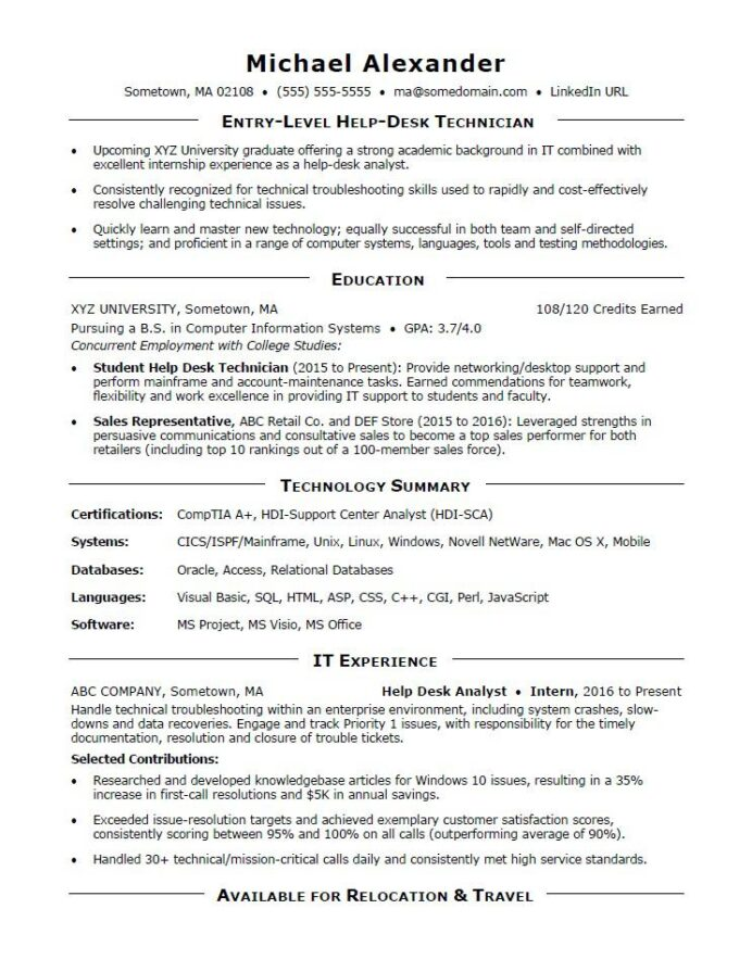 entry level it resume sample monster successful examples macron business for heb high Resume Successful Resume Examples