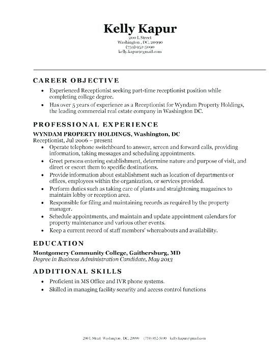 entry level receptionist resume effective skills career objectives for technical writer Resume Entry Level Receptionist Resume