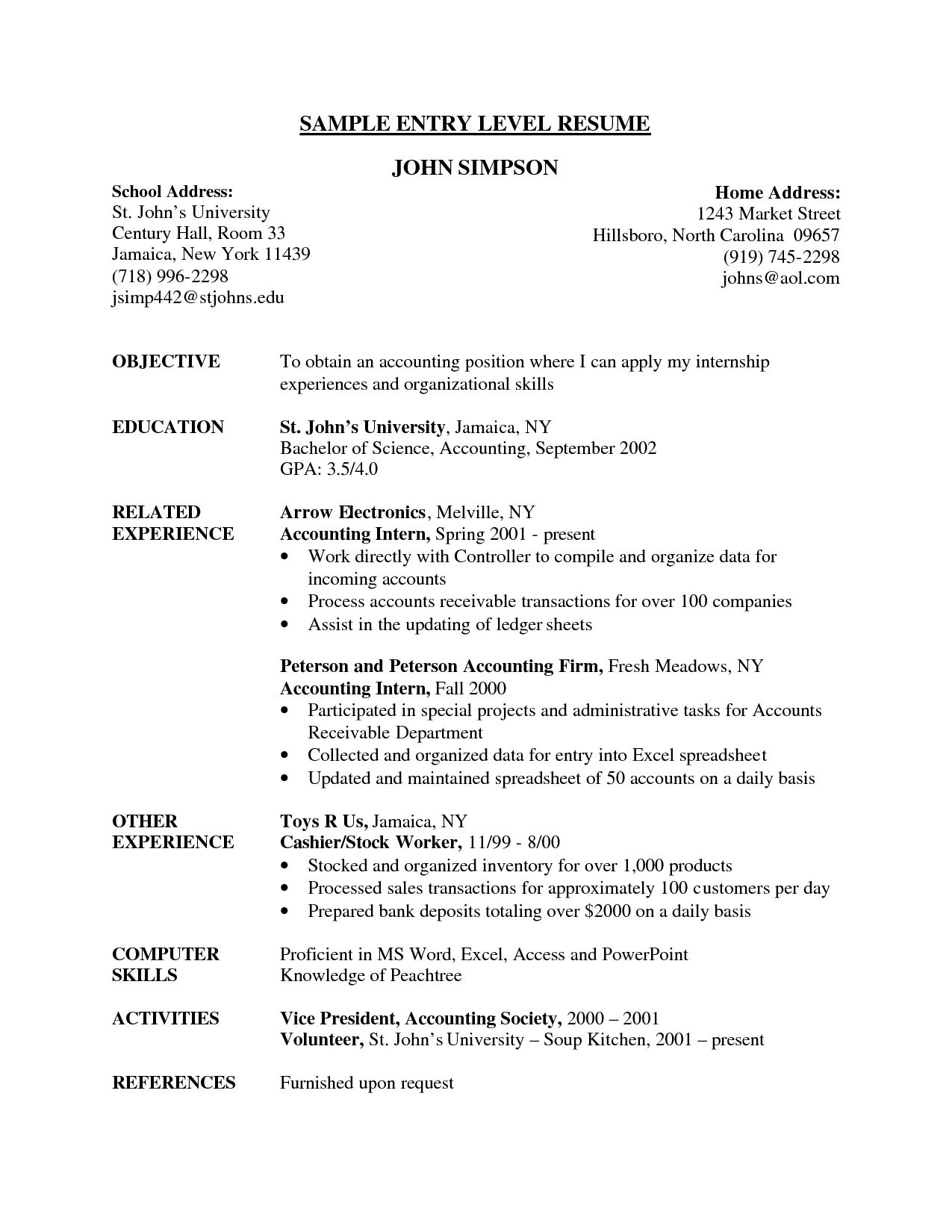 entry level resume example job examples objective profile marketing template for position Resume Resume Template For Entry Level Position
