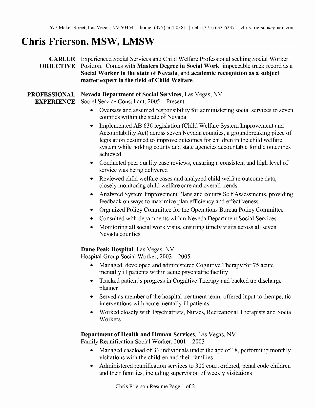 entry level social work resume inspirational examples worker sample proje objective Resume Social Work Resume Examples 2020