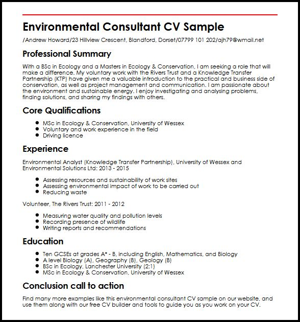 environmental consultant cv example myperfectcv resume sample automated screening Resume Environmental Consultant Resume
